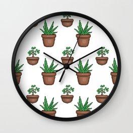 Succulents (pixel pattern) Wall Clock