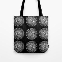 Silver Circle Mandala Tote Bag
