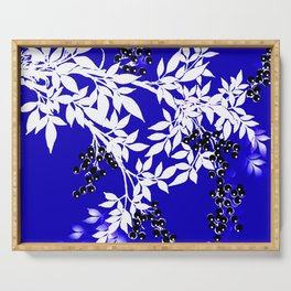 LEAF AND TREE BRANCHES BLUE AND WHITE BLACK BERRIES Serving Tray
