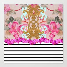 Fashion Girly Pink Vintage Floral Trendy Stripes Pattern Canvas Print
