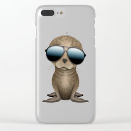 Cute Baby Sea Lion Wearing Sunglasses Clear iPhone Case