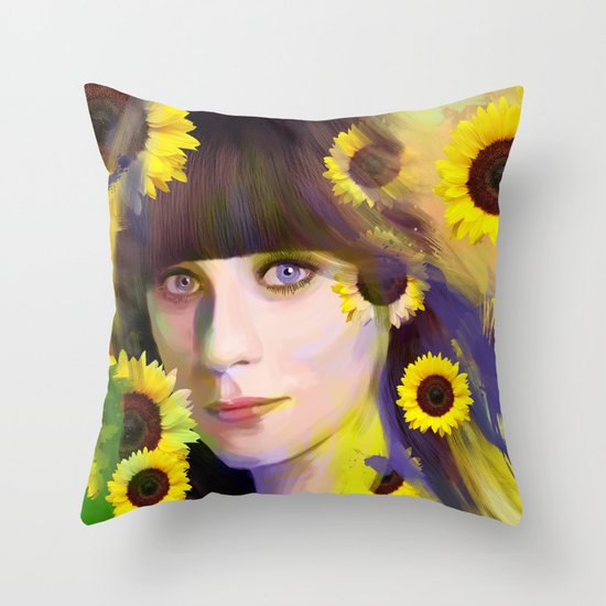 Zooey Deschanel Throw Pillow