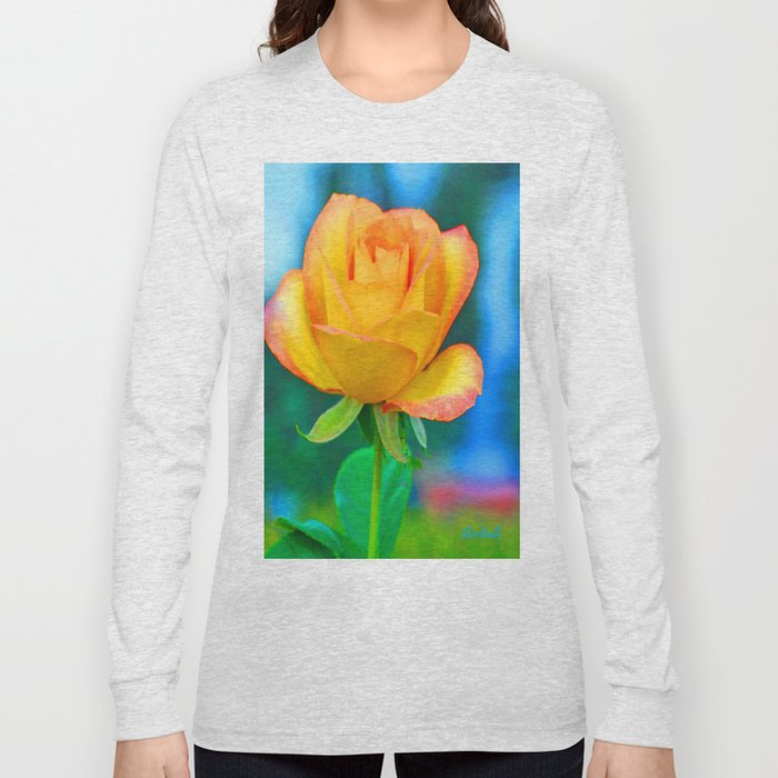 Yellow Rose with Turquoise Long Sleeve T-shirt