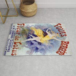 Folies Berg Res Fleur De Lotus 1893 By Jules Cheret | Reproduction Art Nouveau Rug