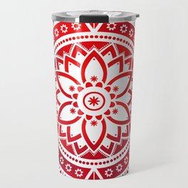 'Scarlet Destiny' Red & White Flower Of Life Boho Mandala Design Travel Mug