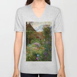 A Garden in Spring by Anna Lea Merritt Unisex V-Neck