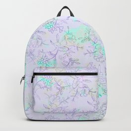 Modern lavender turquoise hand drawn watercolor botanical floral Backpack