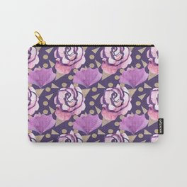 Boho Florals Roses and Gold Carry-All Pouch