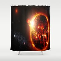 planet Shower Curtains featuring Galaxy : Red Dwarf Star by 2sweet4words Designs