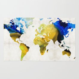 World Map 16 - Yellow And Blue Art By Sharon Cummings Rug
