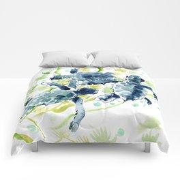 Sea Turtles , Indigo Blue Olive green Turtle art Comforters