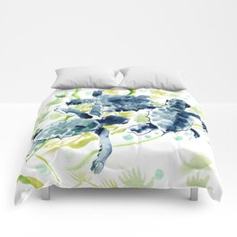 Sea Turtles , Indigo Blue Olive green Turtle art Comforters