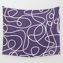 Doodle Line Art | White Lines on Dark Purple Wall Tapestry