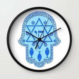 Hamsa for blessings - david shield - blue Wall Clock