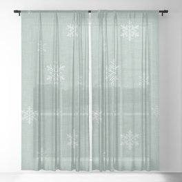 Snow Flakes pattern Green #homedecor #nurserydecor Sheer Curtain