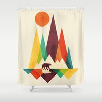 outdoor Shower Curtains featuring Bear In Whimsical Wild by Picomodi