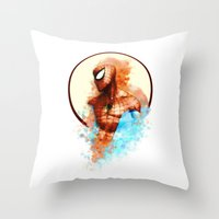 spider man Throw Pillows featuring Spider-Man by Rene Alberto