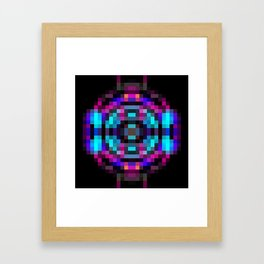 geometric square pixel abstract in orange blue pink with black background Framed Art Print