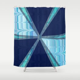 Birds In Flight Pattern 2 In Shades of Blue Shower Curtain