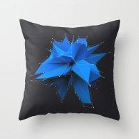 polygon Throw Pillows featuring Blue Polygon by error23
