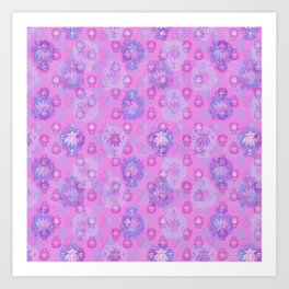 Lotus flower - rich rose woodblock print style pattern Art Print