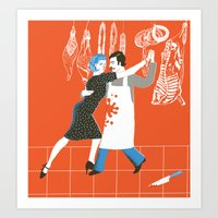 meat Art Prints featuring Meat by avital manor