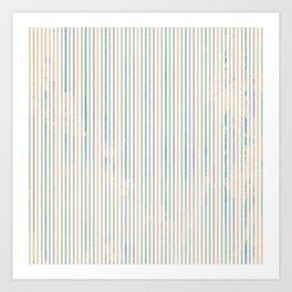Colorful abstract pastel pink green watercolor stripes Art Print