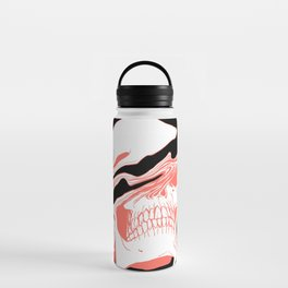 Liquify Skull in black and living coral Water Bottle