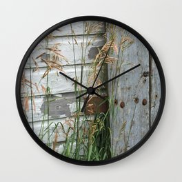 Weathered Wood and Weeds Wall Clock