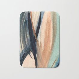 Waves - a pretty minimal watercolor abstract in blues, pinks, and browns Bath Mat