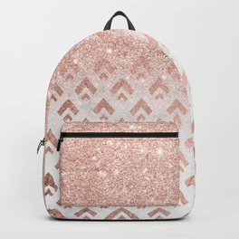 Faux rose gold glitter ombre rose gold foil triangles chevron geometric on white marble Backpack