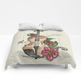Violin and Flowers Comforters