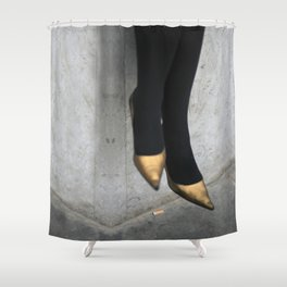 the girl in the gold shoes Shower Curtain