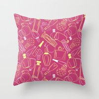 90s Throw Pillows featuring Perfumed 90s by oleynikka