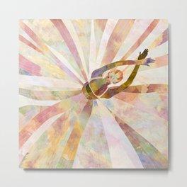 Sleeping Ballerina Floral - Gold Summer Palette Metal Print