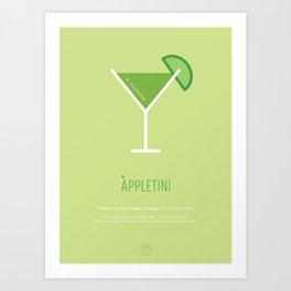 Appletini Cocktail Recipe Art Print Art Print