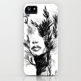BLACK N WHITE WOMEN ABSTRACT FACE-LOVE iPhone Case