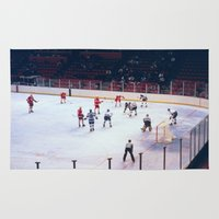 hockey Area & Throw Rugs featuring Vintage Ice Hockey Match by BravuraMedia