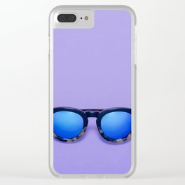 Blue Lens Sunglasses on a Purple Background Clear iPhone Case