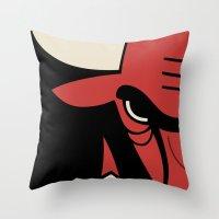 chicago bulls Throw Pillows featuring Bulls by racPOP