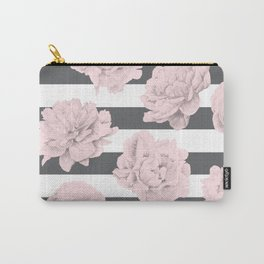 Rose Garden Stripes Pink Flamingo on Storm Gray and White Carry-All Pouch