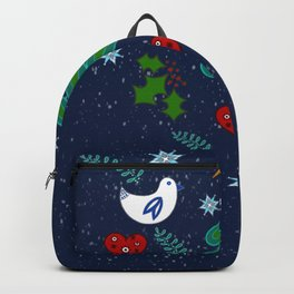 Christmas Winter holidays folk art illustration design Backpack