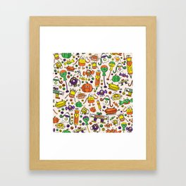 Monster Halloween Candy Bots in Orange, Green, & Purple  // Fall Holiday Themed Candy Robots Framed Art Print