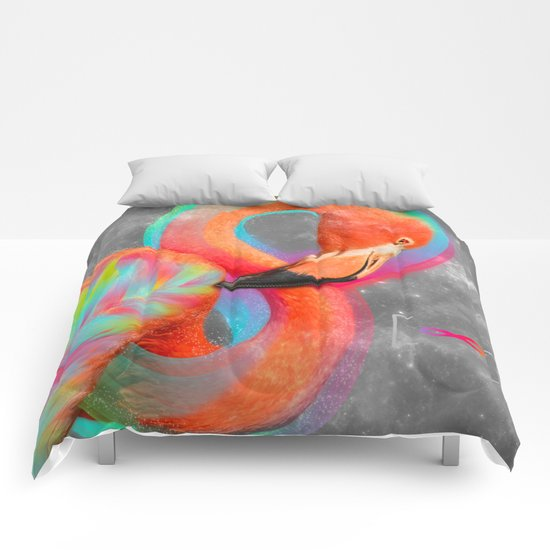 Infinite Possibilities - (Neon Infinity Flamingo) Comforters