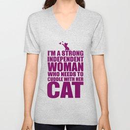 Independent Woman Cat Cuddler Unisex V-Neck