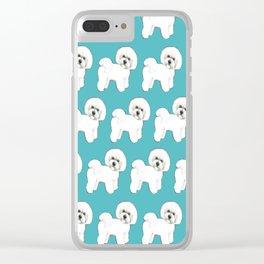 Bichon Frise Dog on blue Clear iPhone Case