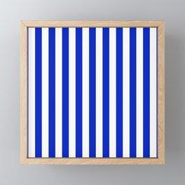 Cobalt Blue and White Vertical Beach Hut Stripe Framed Mini Art Print