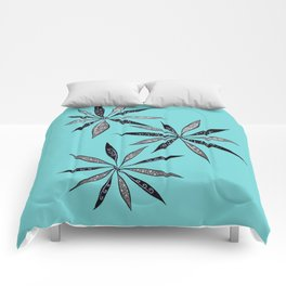 Elegant Thin Flowers With Dots And Swirls Comforters