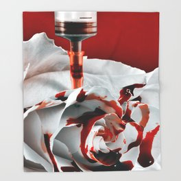 Paining a Rose Red Throw Blanket