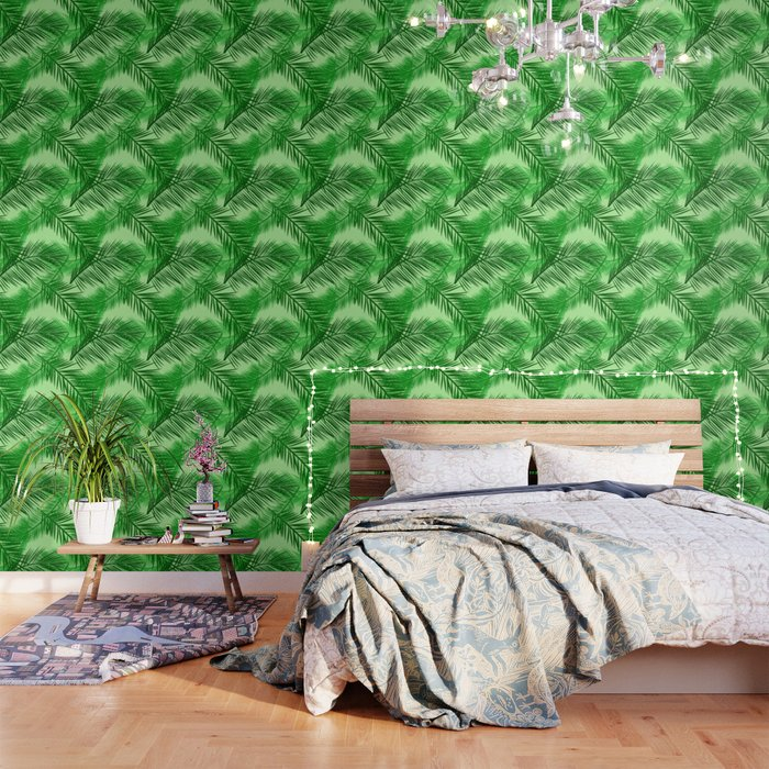 Palm Leaf Print Emerald And Light Lime Green Wallpaper By Mmgladn10